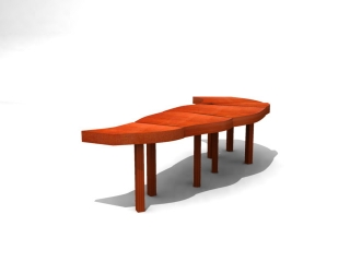Supermarket patio waiting chair 3d preview