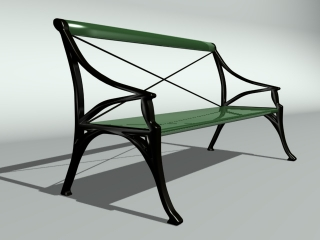 Park bench plastic seating 3d preview