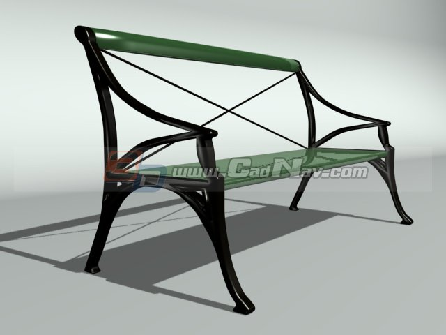 Park bench plastic seating 3d rendering