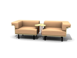VIP room 2 seater waiting chair 3d preview
