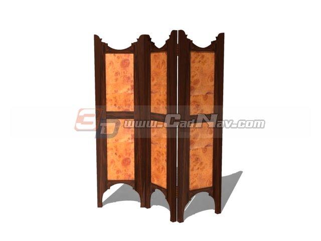 Antique wooden screen 3d rendering