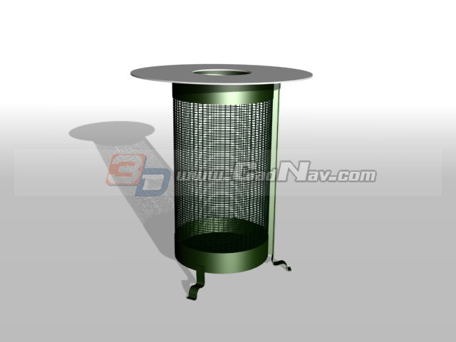 Metal trash basket 3d rendering