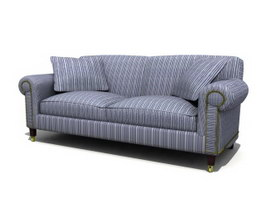 Fabric couple sofa 3d model preview
