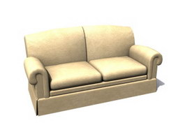 Office two-seater sofa 3d model preview