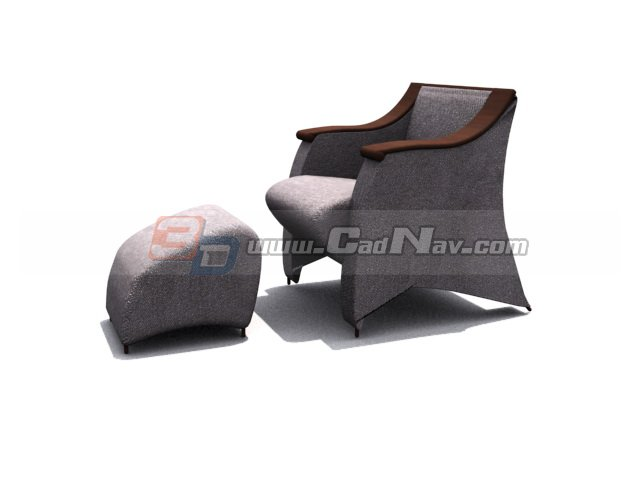 Reclining sofa and footrest 3d rendering