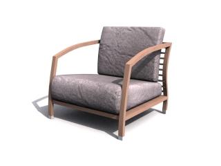 Wooden cushion sofa chair 3d model preview