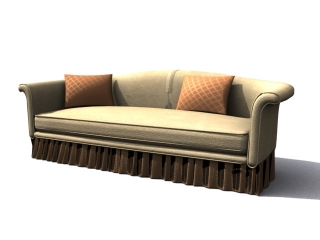 Long couch sofa 3d model preview