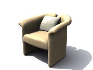 Tub chair cushion sofa 3d model preview