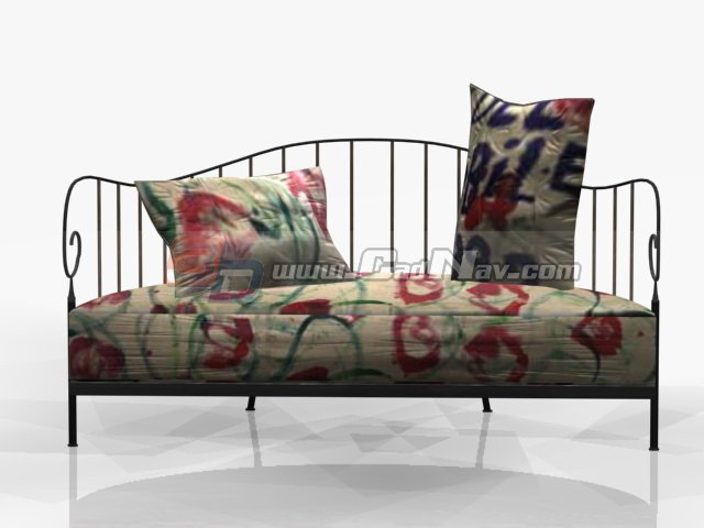 Antique Iron sofa cushion couch 3d rendering