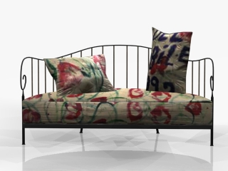 Antique Iron sofa cushion couch 3d model preview