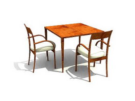 Wooden Restaurant Table and Chairs 3d preview