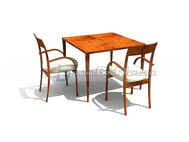 Wooden Restaurant Table and Chairs 3d rendering