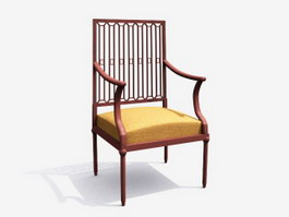 Antique Furniture Wood Armchair 3d preview