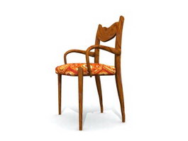 Dining room wood chair 3d model preview