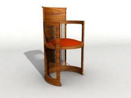 Wooden Tub Chair 3d preview