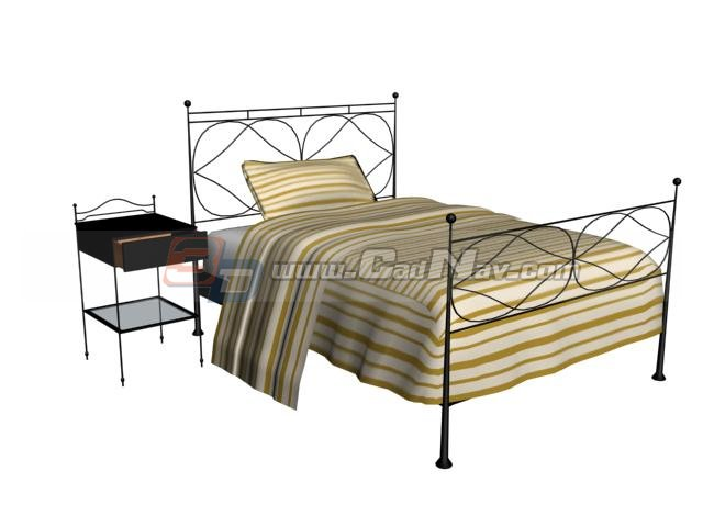 Antique Furniture Metal Bed and Nightstand 3d rendering