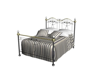 European Style Iron double wall bed 3d model preview