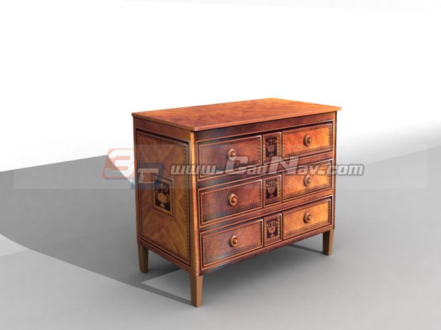 French style wooden cabinet for living room 3d rendering