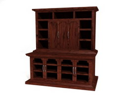 Antique french display cabinet 3d preview
