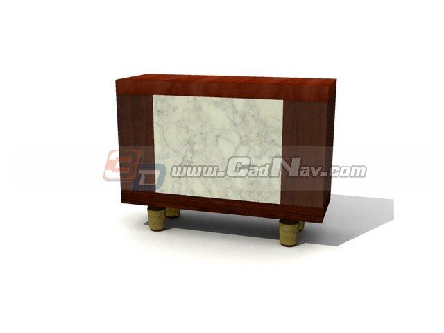 Antique wooden corner cabinet for living room 3d rendering