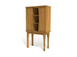 Living room Furniture Antique Wooden Display Cabinet 3d preview