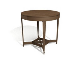 European style round wood dining table 3d model preview