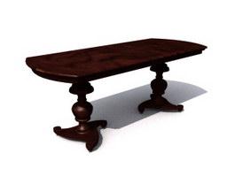 Antique wood tea table 3d preview