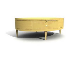 Oval coffee table with drawer 3d preview