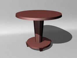 Dining wooden round table 3d model preview