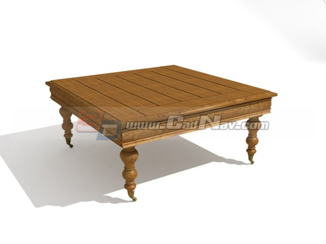 Antique Furniture short-legged coffee table 3d rendering