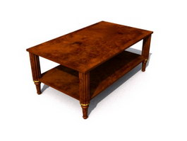 Antique Wood Coffee Table 3d preview