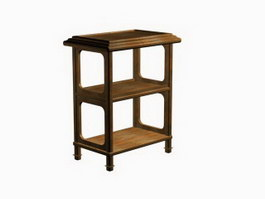 Antique Wooden Storage Rack 3d preview