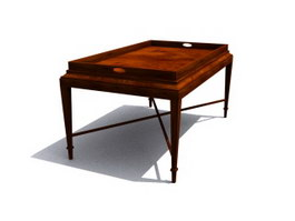 Antique Wooden Small Tea table 3d preview