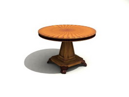 Wood Carved Antique Coffee Table 3d model preview