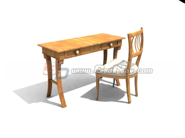 bed side table antique wood writing desk and chair 3d model 3dmax 3ds 11473
