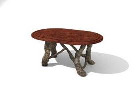 Wooden Antique Tea table 3d preview