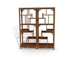 Carved antique display rack for living room 3d model preview