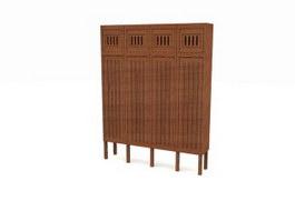Antique Wood Filing Cabinet 3d model preview