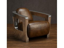 Leather sofa chair with metal armrest 3d model preview