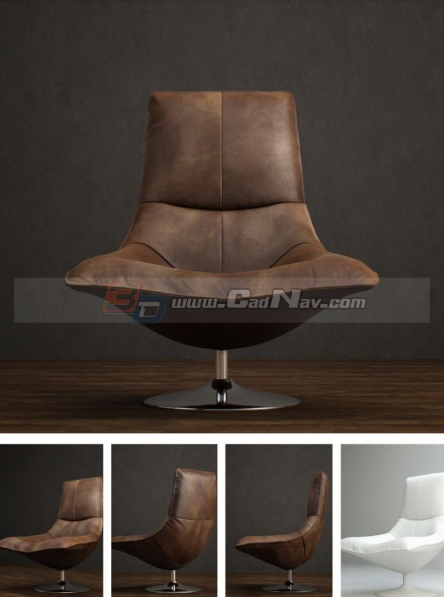 Antique Leather Tulip Chair 3d rendering