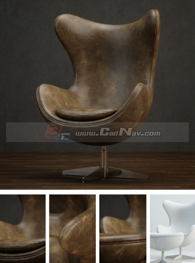 Leather Swivel Egg Chair 3d rendering