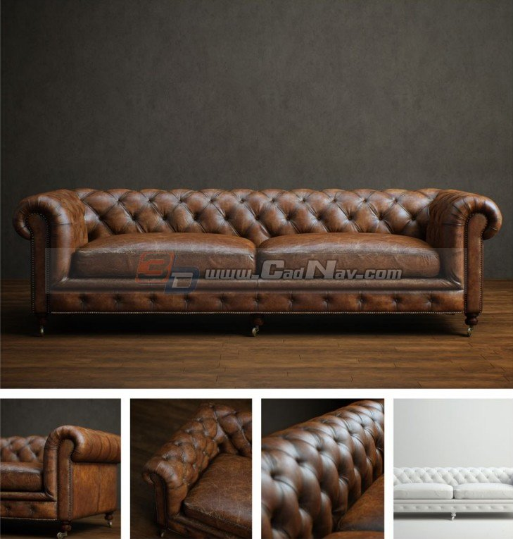 Living Room chesterfield loveseat 3d rendering