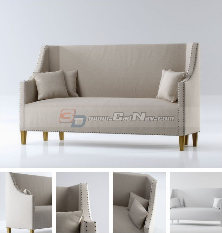 High back fabric loveseat 3d rendering