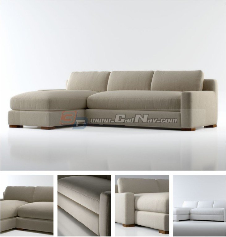 Sectional Couch fabric corner sofa 3d rendering