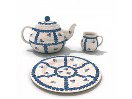 Painted Ceramic Coffee Tea Set 3d preview