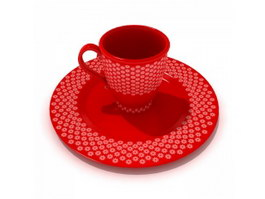 Ceramic Cups Mugs and saucer 3d preview