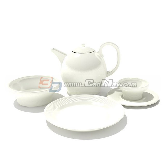 Bone china teapot cup and saucer 3d rendering