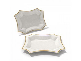 Plastic square dinner plate 3d preview