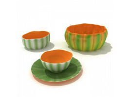 Decorative porcelain pumpkin bowls 3d preview
