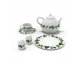 Pottery tea set 3d preview